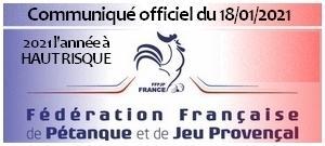 Communiqué FFPJP 18/01/2021